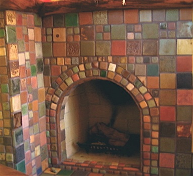 corner fireplace, glazed