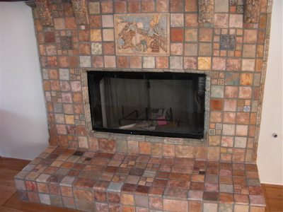 recreated Claycraft fireplace