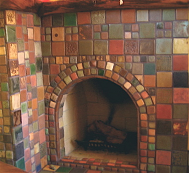 corner fireplace multicolor glazed